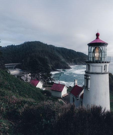 Coastal Oregon Vibes. Heceta Headlight Pacific Ocean Coast Architecture Building Exterior Built Structure Sky Nature Building Water No People Lighthouse Cloud - Sky
