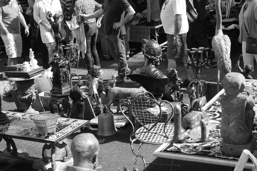 Black And White Bric à Brac Day Market Outdoor Market Outdoors Shopping Stalls Stalls At Sunday Market Sunday