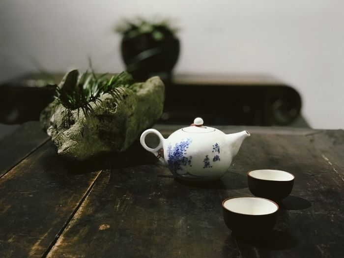 Chinese Culture Relaxing Table Indoors  Still Life Cup Tea Cup Tea Focus On Foreground Teapot Drink Container