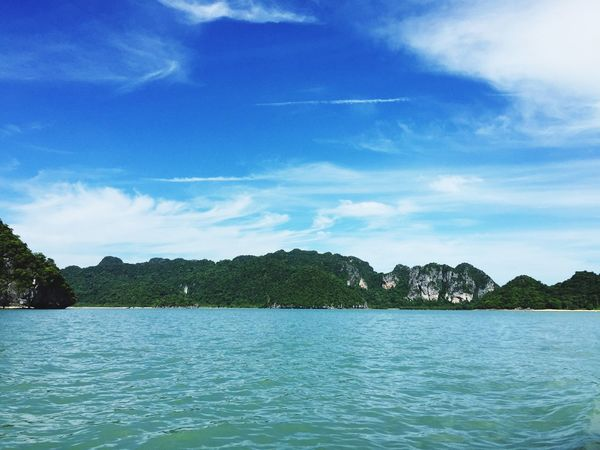 Boat view Sea travelling holiday Thailand beach Coconut Trees green Blue water Sky holiday Vacation Khanom Southern background Tourist Beautiful Mountain rock Fresh i love
