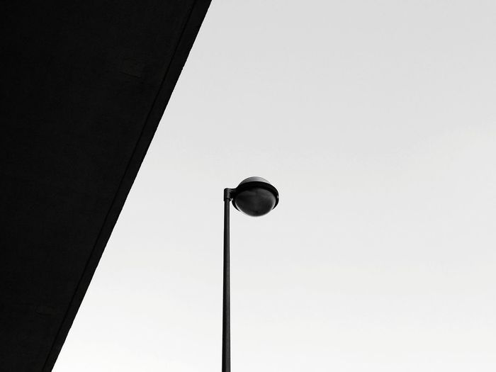 Low Angle View Blue Architecture No People Day Outdoors Built Structure Sky Clear Sky Light Light Pole Light Post Light And Shadow Architecture Building Exterior Lighting Equipment The Week On EyeEm Black And White Friday The Graphic City