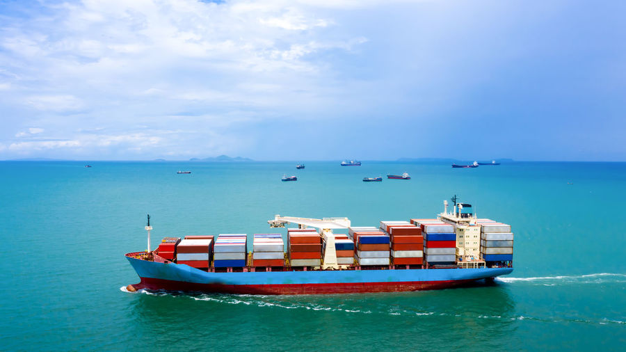 Industry business logistics cargo containers ship import export international by the sea