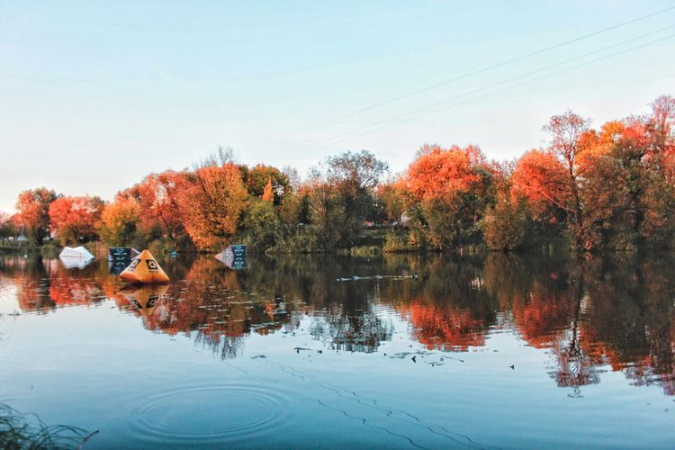 EyeEm Selects Tree Water Leaf Autumn Lake Change Reflection Multi Colored Standing Water Sky Reflecting Pool Autumn Collection Maple Leaf Leaves