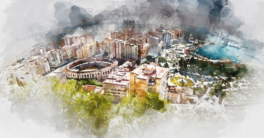 Panoramic view of Malaga bullring and harbor, Spain. Digital watercolor painting Andalusia Cityscape Digital Watercolor Digital Watercolor Painting Harbor Malaga Panorama Panoramic SPAIN Watercolour Altered Architecture Building Exterior Cityscape Costa Del Sol Digital Art Digital Illustration Digital Painting Digitally Altered Digitally Generated Digitally Generated Image Illustration Travel Destinations Watercolor Watercolor Painting