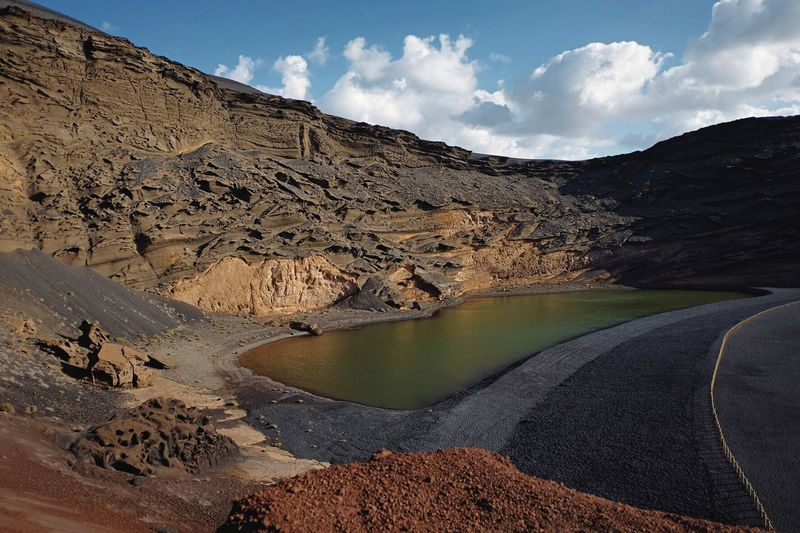 El Golfo, Lanzarote Sky Mountain Nature Volcano Scenics Landscape Beauty In Nature Outdoors Day Physical Geography Cloud - Sky Tranquility Volcanic Landscape Mountain Range No People