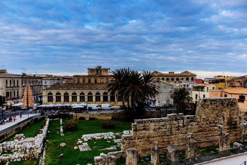 Apollónion Doric Order Temple Columns Sicilia Siracusa Ortigia Apollónion Architecture Built Structure Building Exterior Sky Cloud - Sky History Day Outdoors Old Ruin Palm Tree City Cityscape Ancient Civilization Travel Destinations Nature Tree