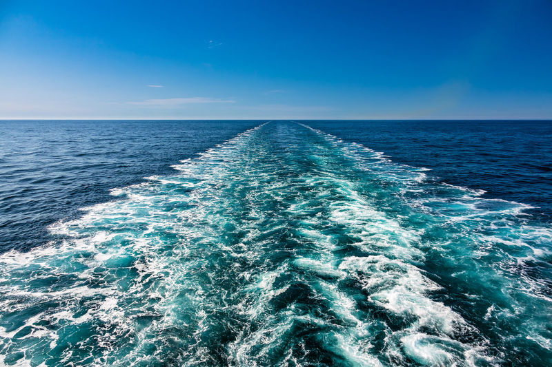 Backwater of a ship on the North Sea. Sea Water Horizon Horizon Over Water Blue Motion Scenics - Nature Wave Pattern Beauty In Nature Wake - Water Seascape Wave Nature No People Outdoors Northsea North Sea Ocean Backwater Ship Vessel Cruise Ship