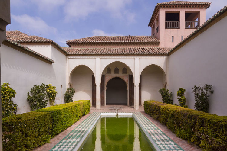 Patio Arabic Arabic Style Arch Architecture Building Exterior Built Structure Day Nature No People Outdoors Palace Sky Water