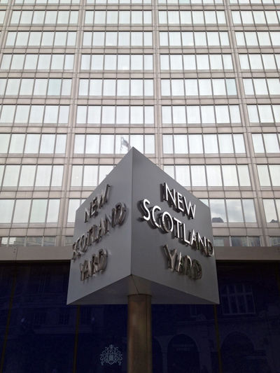 Architecture Building Building Exterior England Glass Glass - Material Headquarters London Modern New Scotland Yard Office Building Police Police Station Scotland Yard Sign Symbol Uk Window