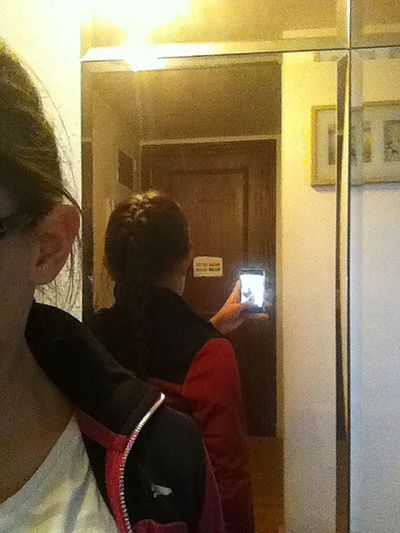 my hair in a plat ;) x Plat