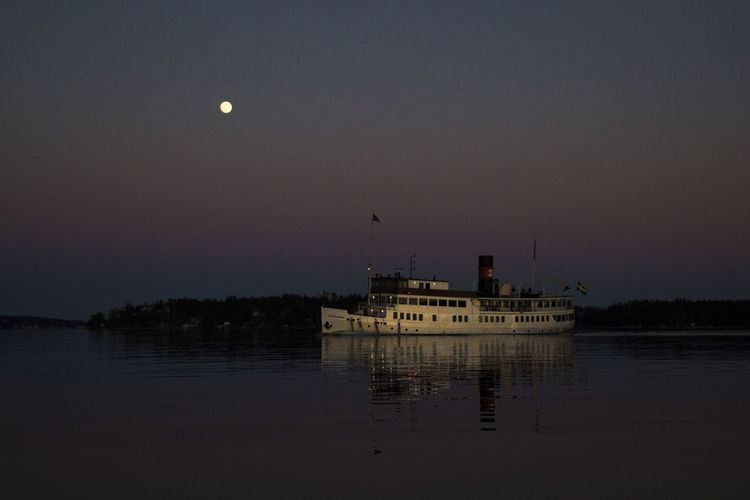 Sweden Archipelago Night EyeEm Best Shots EyeEm Nature Lover EyeEm Best Edits Sky Water Moon Nature Scenics - Nature Nautical Vessel Transportation Tranquility Full Moon