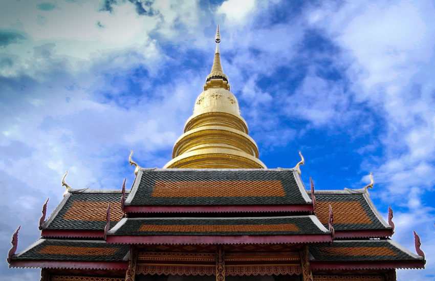 Architecture Building Exterior Built Structure Exterior Famous Place Gold Colored Golden Pagoda High Section Jedi Low Angle View Pagoda Pagoda Place Of Worship Religion Spirituality Temple Temple - Building Tourism Travel Destinations