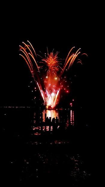 Firework Display Night Celebration Illuminated Glowing Water Outdoors Entertainment Multi Colored Event 4th Of July 4th