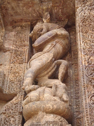 Beautiful Sand stone carvings depicting the lifestyle of past.