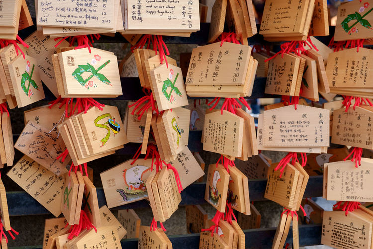 Text on wooden objects hanging at store