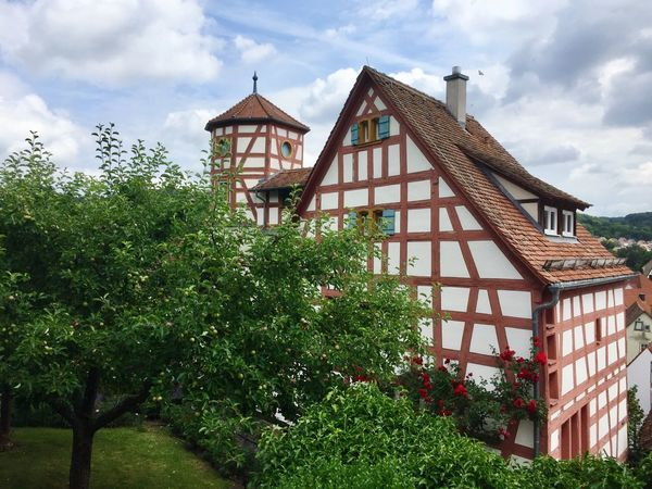 Medieval building with garden in Creglingen Germany History Historic Tower Germany Creglingen Romantic Tree Cloud Blue Sky Timbered House Timbered Half Architecture House Building Plant Garden Germany Medieval Green Blue Sky