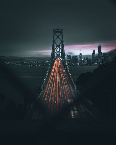 Light trails on golden gate bridge at night