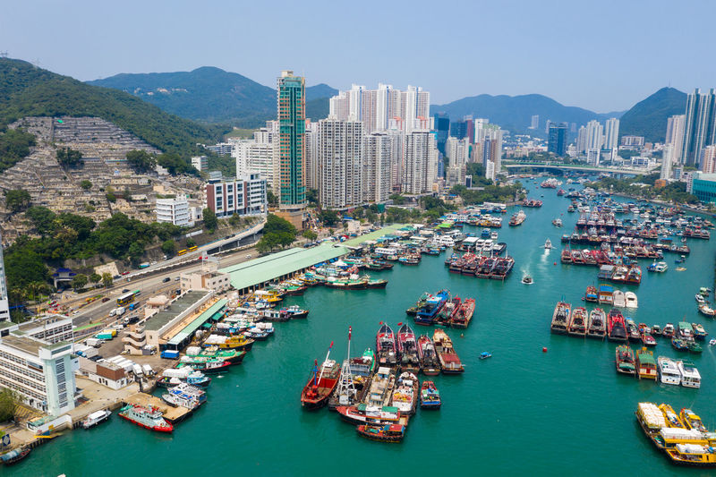 Top view of Hong Kong city Hong Kong Top View Building Aberdeen Harbor Port Fish Boat Ship Sea Seascape Ocean Bay Water Typhoon Shelter Ap Lei Chau Street People Landscape Skyline Architecture Urban Downtown Cityscape Housing Landmark Estate Residential  Apartment Aerial Fly Drone  Over Above Down Top Down Bird Eye Hk Hong Kong City
