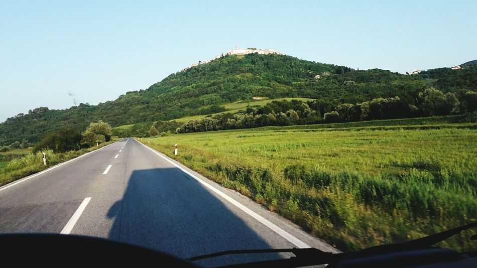 Transportation Road Car The Way Forward Journey Travel Driving Clear Sky Landscape Two Lane Highway Day No People Outdoors Nature Sky Camper Camper Van Motovun Motovun Istra Hrvacija :-) Motovun Croatia Istria Groznjan Istria Istria Motovun