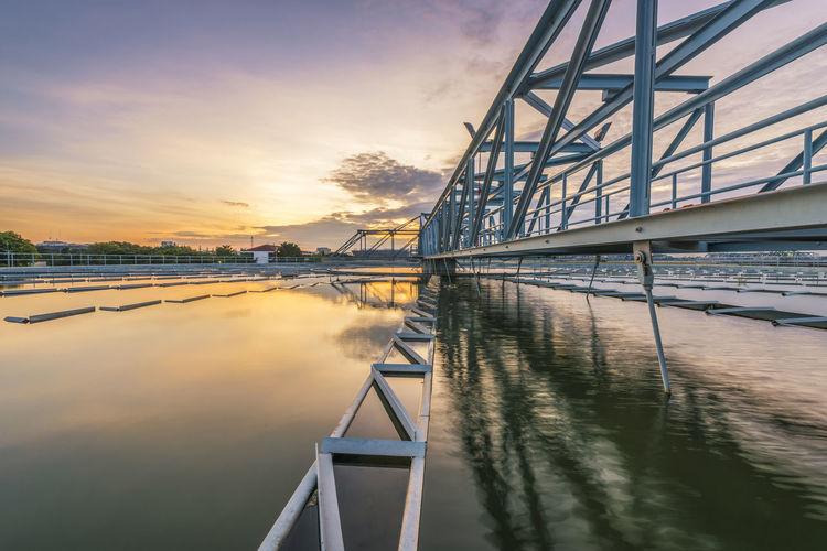 Bridge over river against sky during sunset