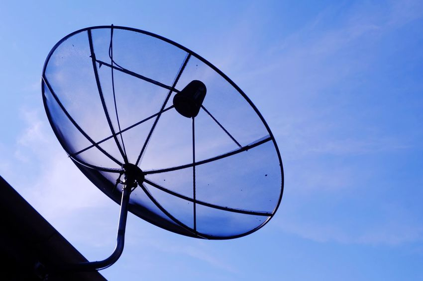 satellite dish on roof with bluesky Architecture Roof Satellite Satellite Dish Communication Cloud Blue Sky Bluesky Sky Blue Day Connection Technology Outdoors No People Telecommunications Equipment Nature