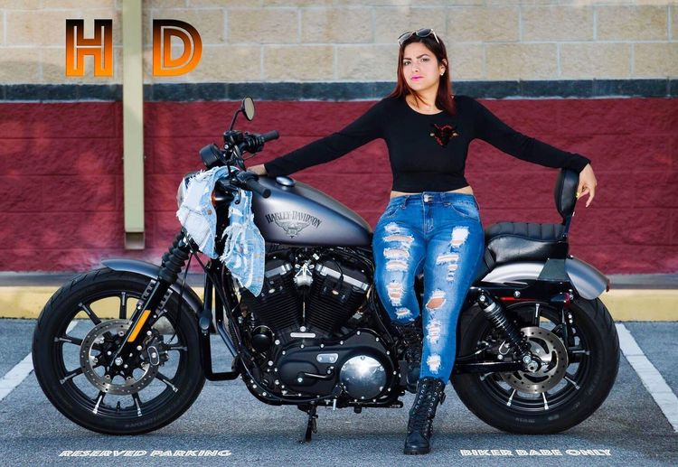 Harley Davidson Iron883 Parking Area Ripped Jeans Denim Jacket Redhead Staredown Harleyboots Motorcycle Photography
