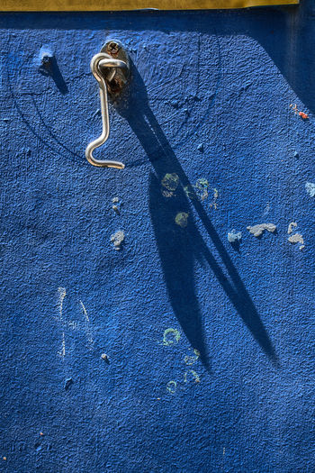 Hook Abstract Blue Close-up Day Light And Shadow No People Outdoors Wall - Building Feature