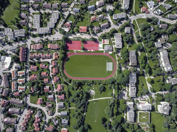 Drone  Stadium Aerial View Architecture Building Exterior Built Structure City Cityscape Day High Angle View Nature No People Outdoors Residential  Residential Building Residential District Soccer Field Sport Stadium Tree