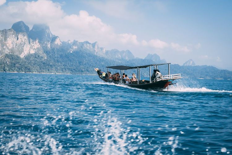 Khao Sok National Park. Paradise. Peace. Longtail Boat Thailand Thailand_allshots Thailandtravel EyeEm Selects Nautical Vessel Water Mountain Sea Sky Sailing Water Vehicle