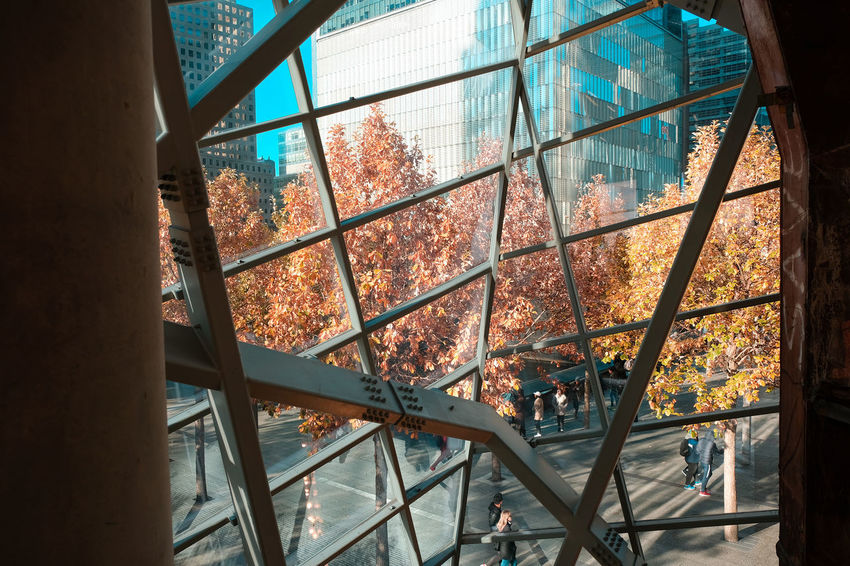 911 Autumn City Façade Manhattan Memorial New York Architecture Building Exterior Buildings Built Structure City Close-up Colorful Day Daylight Glass Indoors  People Real People Structure Tourism View Out Of The Window Window