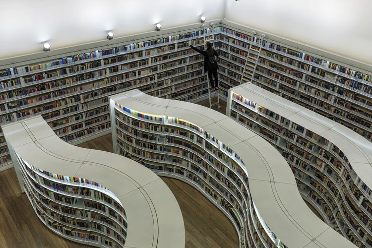 Singapore, Singapore - October 17, 2018: Young woman pulling books from the curved shelves library at Library at Orchard mall Singapore ASIA Gardens By The Bay Orchard Marina Bay Sands Flower Dome Cloud Forest Dome Arab Street Haji Lane, Singapore Modern Art Museum Ocean