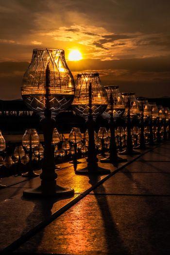 Candle sun light Cancle Water Sunset Sky Sea Cloud - Sky Nature Reflection Sunlight No People