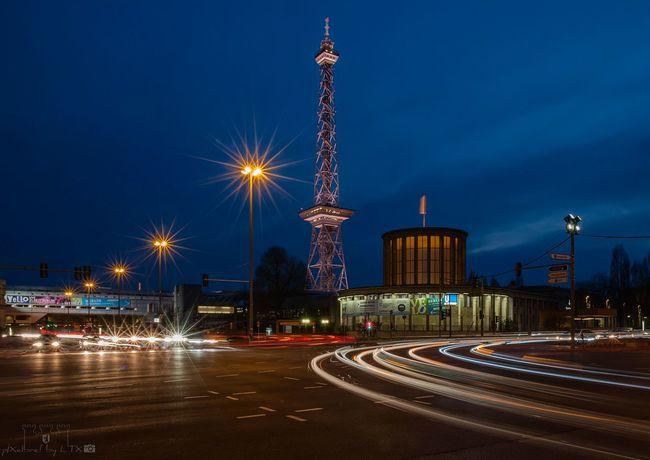 Um die Ecke Berlin Berliner Ansichten My Fuckin Berlin City Cityscape Architecture Landmark Charlottenburg  Radio Tower City Lights Night Lights Blue Hour Lighttrails No People Clouds And Sky