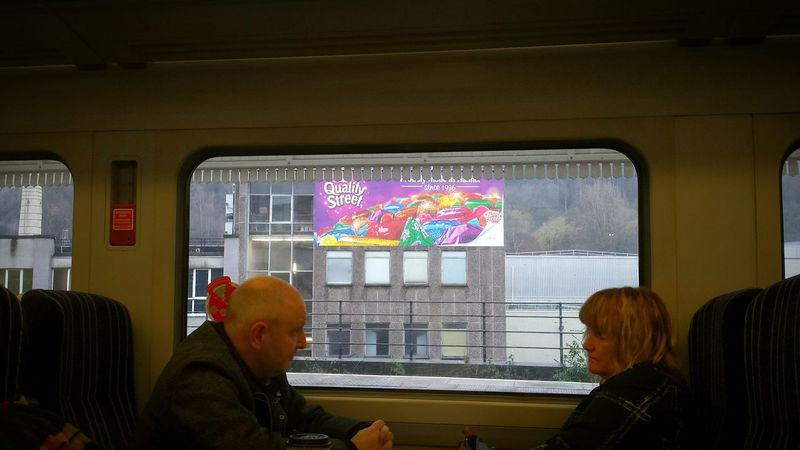My Winter Favorites wow what a beautiful new sign! Chocolate Quality Street Rowntrees Nestle Christmas Travel Traveling Train Travel Photography Train Station Passenger Passengers Halifax Day Out Yorkshire Old Train Station Windows Architecture Inside Waiting Sat Down Seated Platform Urban Geometry