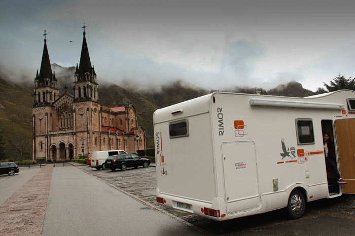 On The Way Mobile Home Camper Autocaravana Church Iglesia Asturias Covadonga
