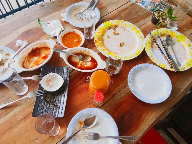 satisfied cravings Dine Food Yummy Empty Different Messy Fum Foodadventure Love Table High Angle View Plate Indoors  Food And Drink No People Day