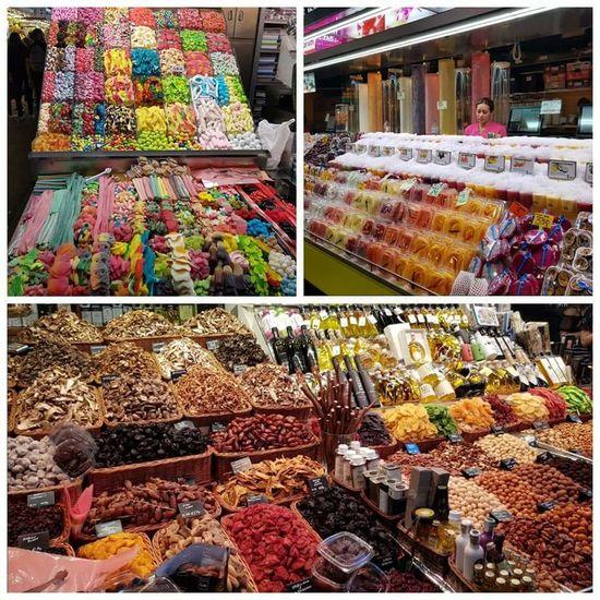 Barcelona Mercat De La Boqueria Dried Fruit Sweets Chocolate♡ Jelly Beans Catalunya Travel Day Sun Architecture Ilovebarcelona