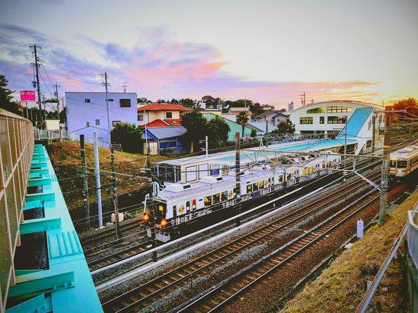 Railroad Track Sunset Kitsunegsaki Station Train Train Sunset_collection Rail Transportation Shizuoka-shi Japan Shizuoka F3 Filter Cityscape Cellphone Photography Phoneography