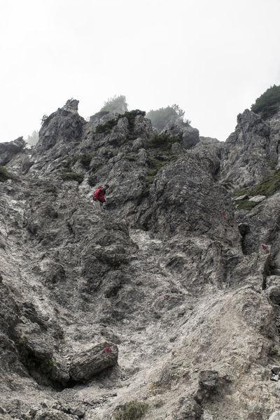 Austria Climbing Ellmauer Halt Hiker Hiking Kaisergebirge Low Angel View Low Angle Shot Man Mountains Rocks Stone The Alps
