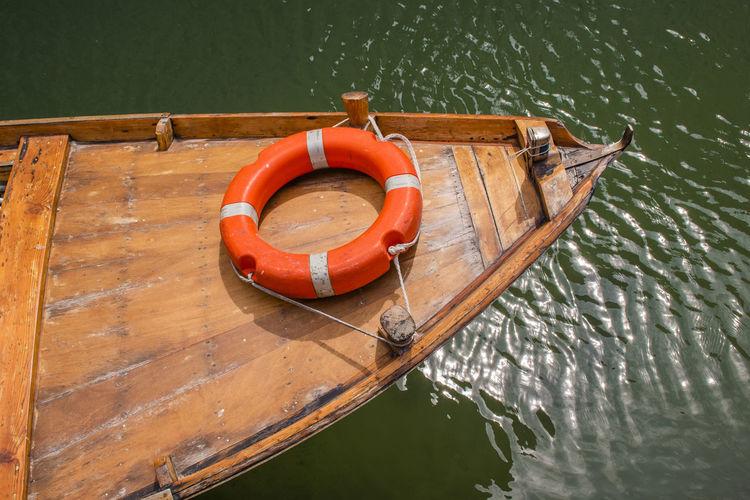 High angle view of nautical vessel on lake