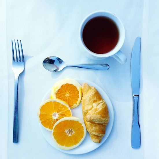 Beeakfast Oranges Croissants Tea White Table Food Porn Restaurant Colour Of Life Party Food Elegant Hotel