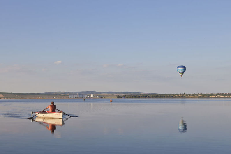 Balloon Blue Blue Album Boat Calm Idyllic Nature Outdoors Sky The Essence Of Summer Tranquil Scene Tranquility Vacations Water Original Experiences Colour Of Life Breathing Space