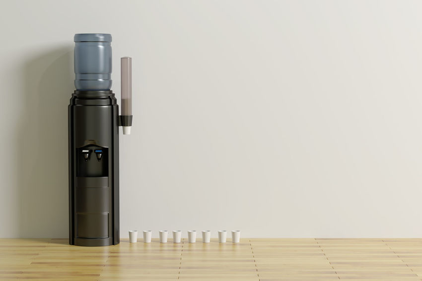 3d rendering of a water dispenser on an empty room Office Copy Space Flooring Group Of Objects Hardwood Floor Indoors  No People Still Life Studio Shot Wall - Building Feature Water Water Dispenser Wood Wood - Material
