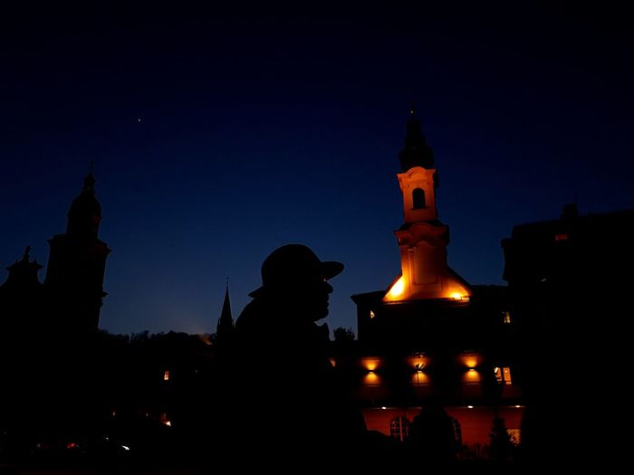 Silhouette of temple at night