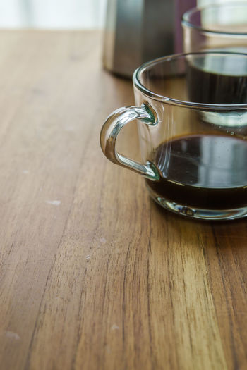 glass cups and moka pot Black Breakfast Close-up Day Drink Food And Drink Freshness Glass Cup Healthy Eating Indoors  Moka Pot Morning No People Refreshment Selective Focus Table Wood - Material