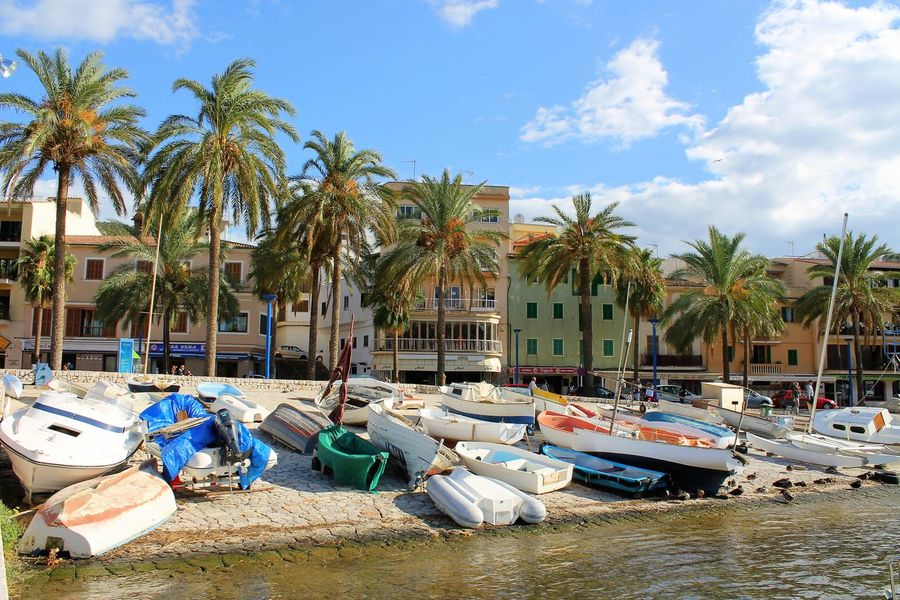 Mallorca Seaside Village Travel Destinations Outdoors Scenics Beach Seascape Sea_collection Day Palm Tree Sky Boat Nautical Vessel Vacations
