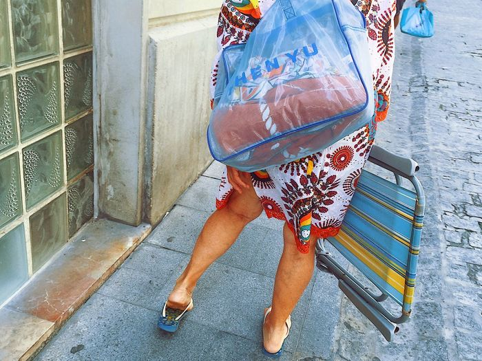 Lifestyles Close-up Adult People One Person Day Unrecognizable Person Walking Around The City  Sidewalk Carrying Tourist Shoes Sandal Sandals Suntan Tanned Vacation Lady