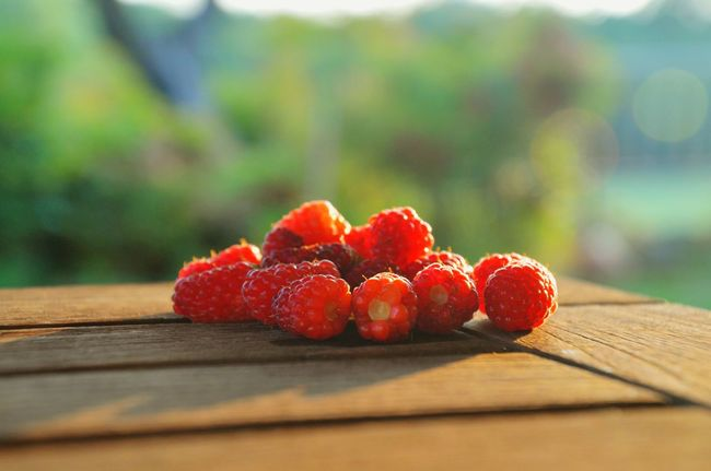 Fresh Raspberries from our Garden for Dessert / Rasberry Lampone Fruitporn Fruits Forest Fruit
