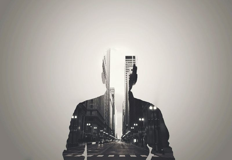 Only Men One Man Only Digital Composite One Person Silhouette Business Adult Adults Only Men Waist Up Businessman Studio Shot Gray Background Dubleexposure Futuristic Technology People Suit HDR Art Abstract Cityscape Outdoor Photography