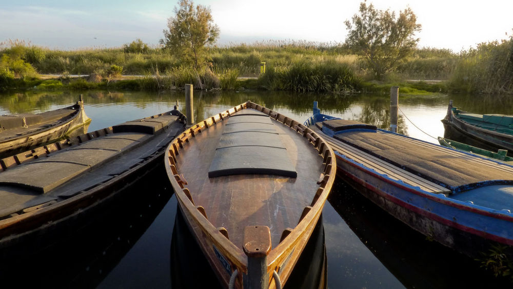 Water Moored Sky Tree Nature Gondola - Traditional Boat Transportation No People Reflection Nature Lake Naturelovers Albufera Natural Reserve Port Fishing Boat Liquid Old Outdoors Nautical Vessel Day Tranquility Nature Collection Boat Simetry